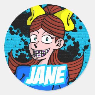 Round Sticker Jane