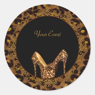 Round Sticker Leopard Shoes Gold Black