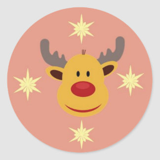 Round sticker Reindeer of Christmas