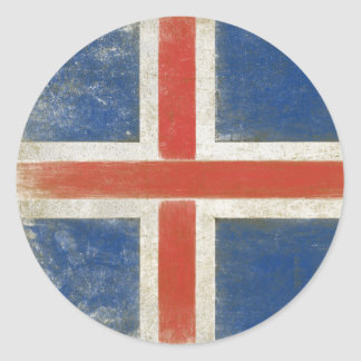 Round Sticker with Distressed Flag from Iceland