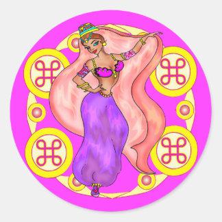 Round Stickers - Belly Dancer