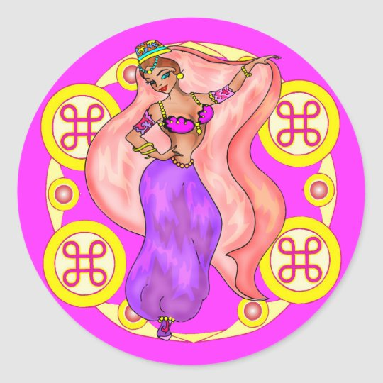 Round Stickers - Belly Dancer