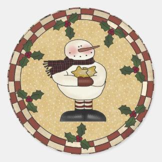 Round Stickers - Star Snowman