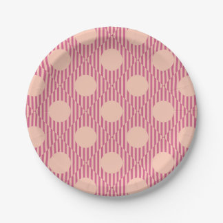 Round Striped Pattern Paper Plate