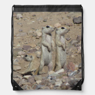 Round-tailed Ground Squirrel Family Drawstring Bag