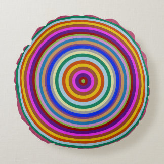 "Round Throw Pillow (16"")  Colourful Wave Abstract Round Pillow"
