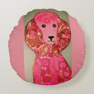 Round Throw Pillow (16 inch) with Pink Poodle Dog