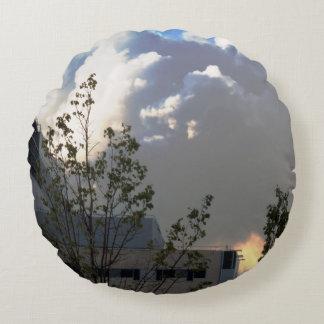 "Round Throw Pillow (16"")  skyview blue sky cloud Round Pillow"
