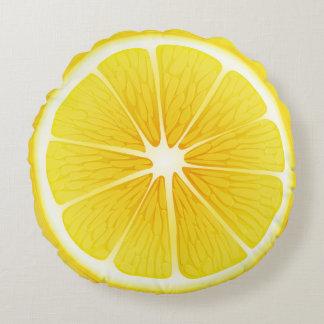 Round Throw Pillow-Lemon Round Pillow