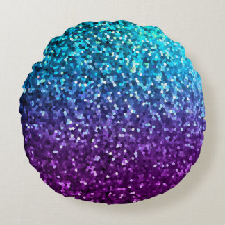 Round Throw Pillow Mosaic Sparkley Texture