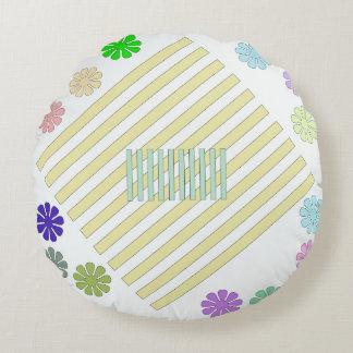 Round Throw Pillow Multi-Color Design