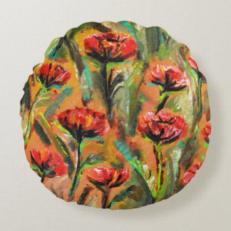 Round throw pillow with red poppies