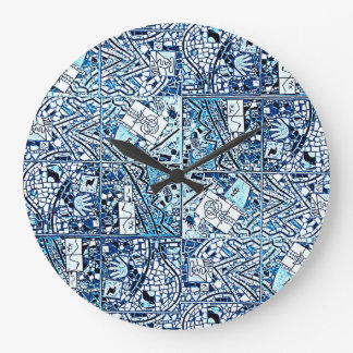 ROUND TURQUOISE AND WHITE ABSTRACT CLOCK