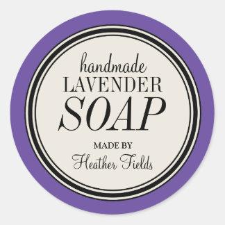 Round Vintage Label Frame Lavender Soap Template Round Sticker
