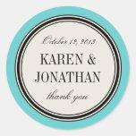 Round Vintage Label, Wedding Favour Template, Blue Round Sticker