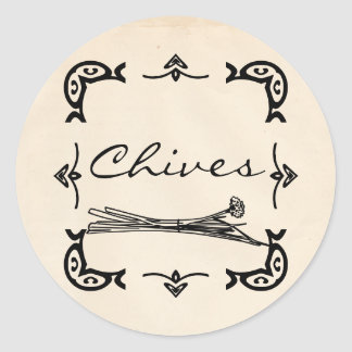 Round Vintage-Style Chives Sticker