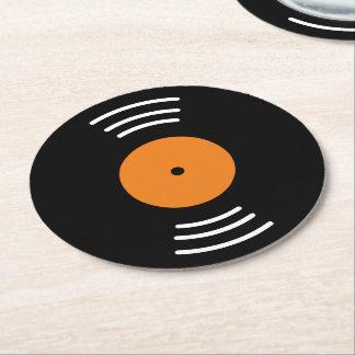 Round vinyl music record paper coaster set