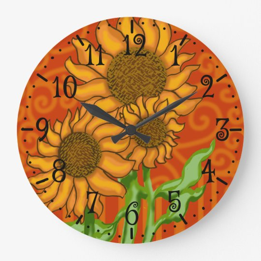 Round Wall Clock/Sunflower Trio Wall Clocks
