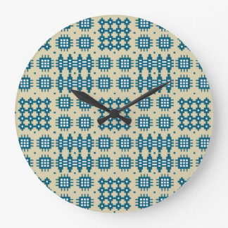 Round Wall Clock: Welsh Tapestry Pattern, Navy Wallclock