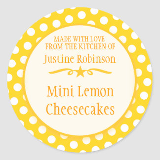 Round yellow cookie exchange baking gift stickers