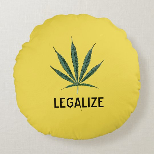 "ROUND YELLOW PILLOW WITH POT LEAF AND ""LEGALIZE"""