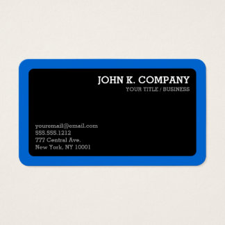 Rounded Blue Border Black Minimal Professional Business Card