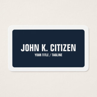 Rounded Blue & White Bold Text Wide Border Business Card