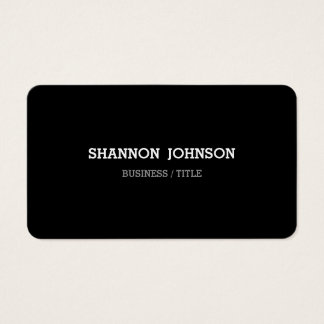 Rounded Clean Basic Design Black & White Business Card