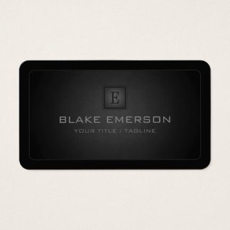 Rounded Corners Dark Professional Monogram Business Card