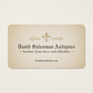 Rounded Corners Fleur-de-lis Vintage Look Business Card