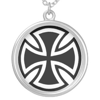 Rounded Cross Silver Plated Necklace