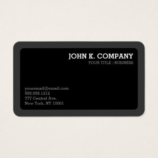 Rounded Dark Grey & Black Minimal Modern Business Card