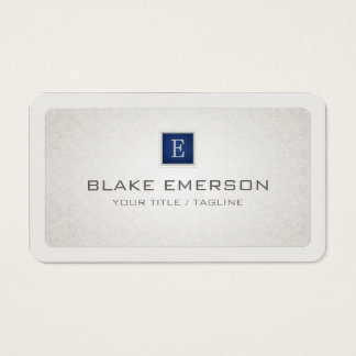 Rounded Professional Custom Monogram Blue Accent Business Card