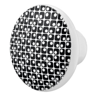 Rounded Squares Retro Black & White Pattern Ceramic Knob