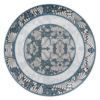 Rounds of Blue and White Fern Print Plate