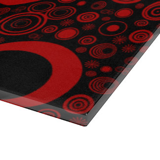 Rounds, Red-Black Glass Cutting Board