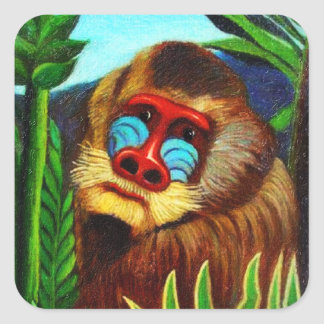 Rousseau - Mandril in the Jungle (Adaptation) Square Sticker