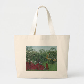 Rousseau Tropical Forest with Monkeys Large Tote Bag