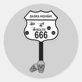 Route 666 classic round sticker