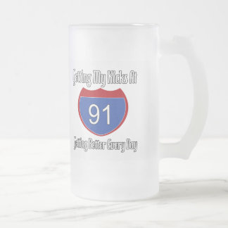 Route 66 91st Birthday 16 Oz Frosted Glass Beer Mug