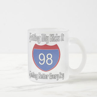 Route 66 98th Birthday 10 Oz Frosted Glass Coffee Mug