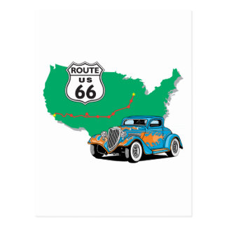 Route 66 Blue Hot Rod Postcard
