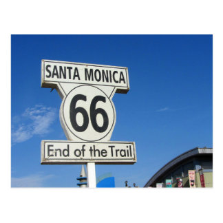 Route 66 California Santa Monica end of trail Postcard