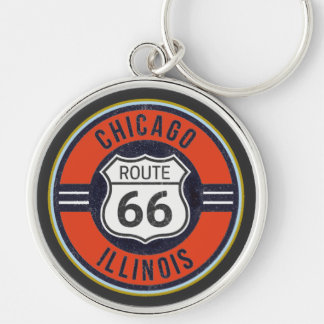 ROUTE 66 CHICAGO - Deluxe Key Ring Silver-Colored Round Keychain