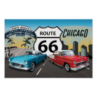 Route 66, Chicago to Santa Monica Poster