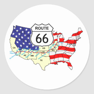 Route 66 classic round sticker