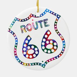 Route 66 color splash! round ceramic ornament