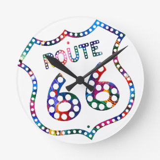 Route 66 color splash! round clock