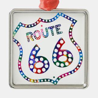 Route 66 color splash! Silver-Colored square ornament