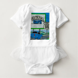 Route 66 Corner Cafe Wall Baby Bodysuit